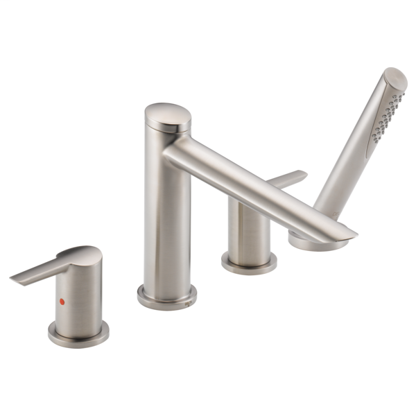 DELTA® T4761-SS Roman Tub Trim, Compel®, 1.75 gpm Flow Rate, 8 to 16 in Center, Brilliance® Stainless Steel, 2 Handles, Function: Traditional, Domestic