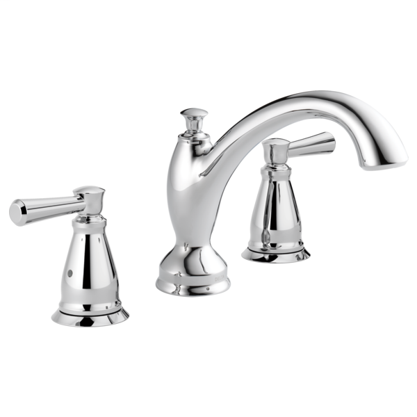 DELTA® T2793 Roman Tub Trim, Linden™, 2 gpm Flow Rate, 8 to 16 in Center, Polished Chrome, 2 Handles, Function: Traditional, Import