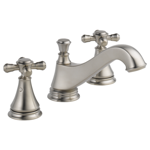 Cassidy Two Handle Widespread Bathroom Faucet - Low Arc Spout - Less Handles - Stainless