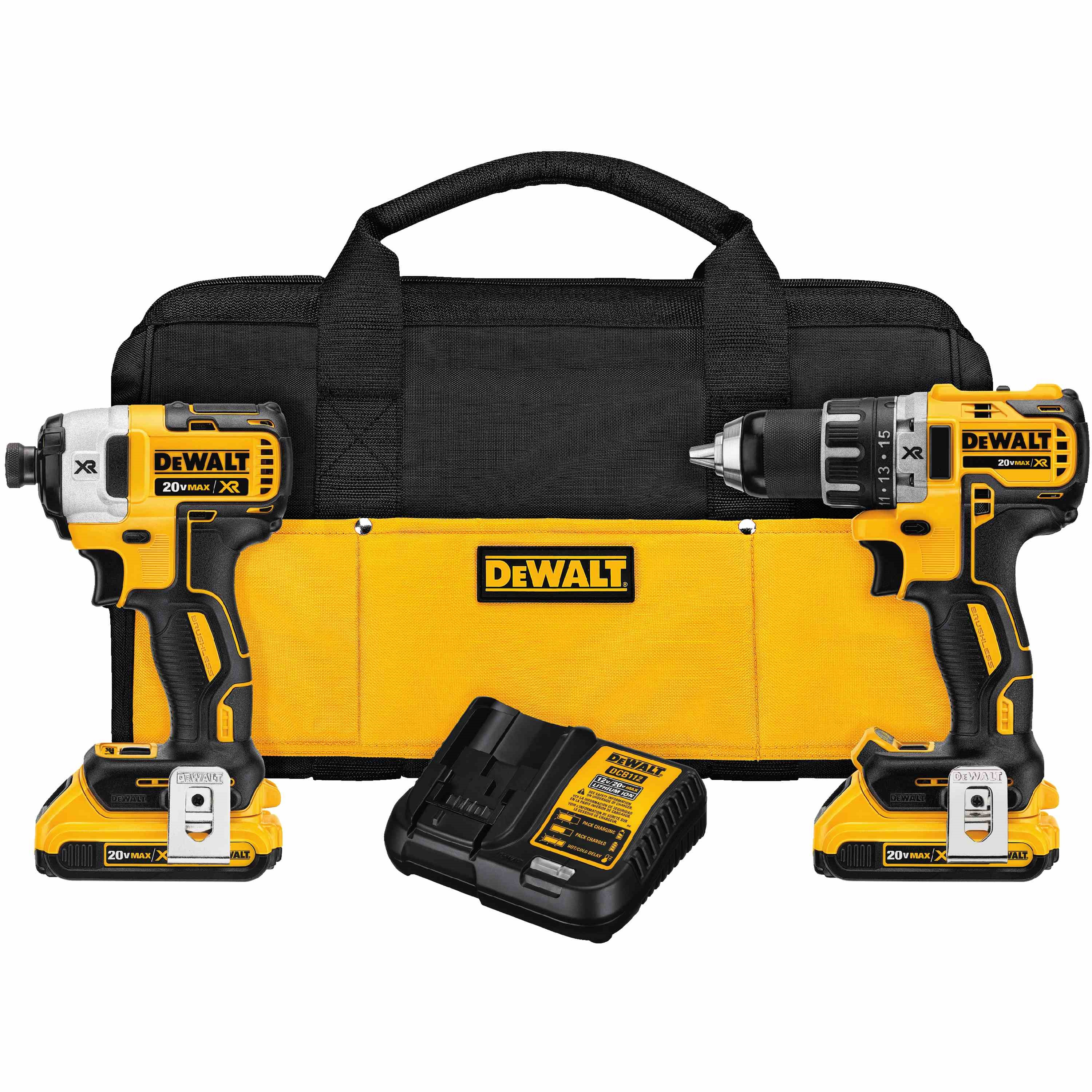 DeWalt,DCK283D2,20V MAX* XR Lithium Ion Brushless Compact Drill / Driver & Impact Driver Combo Kit