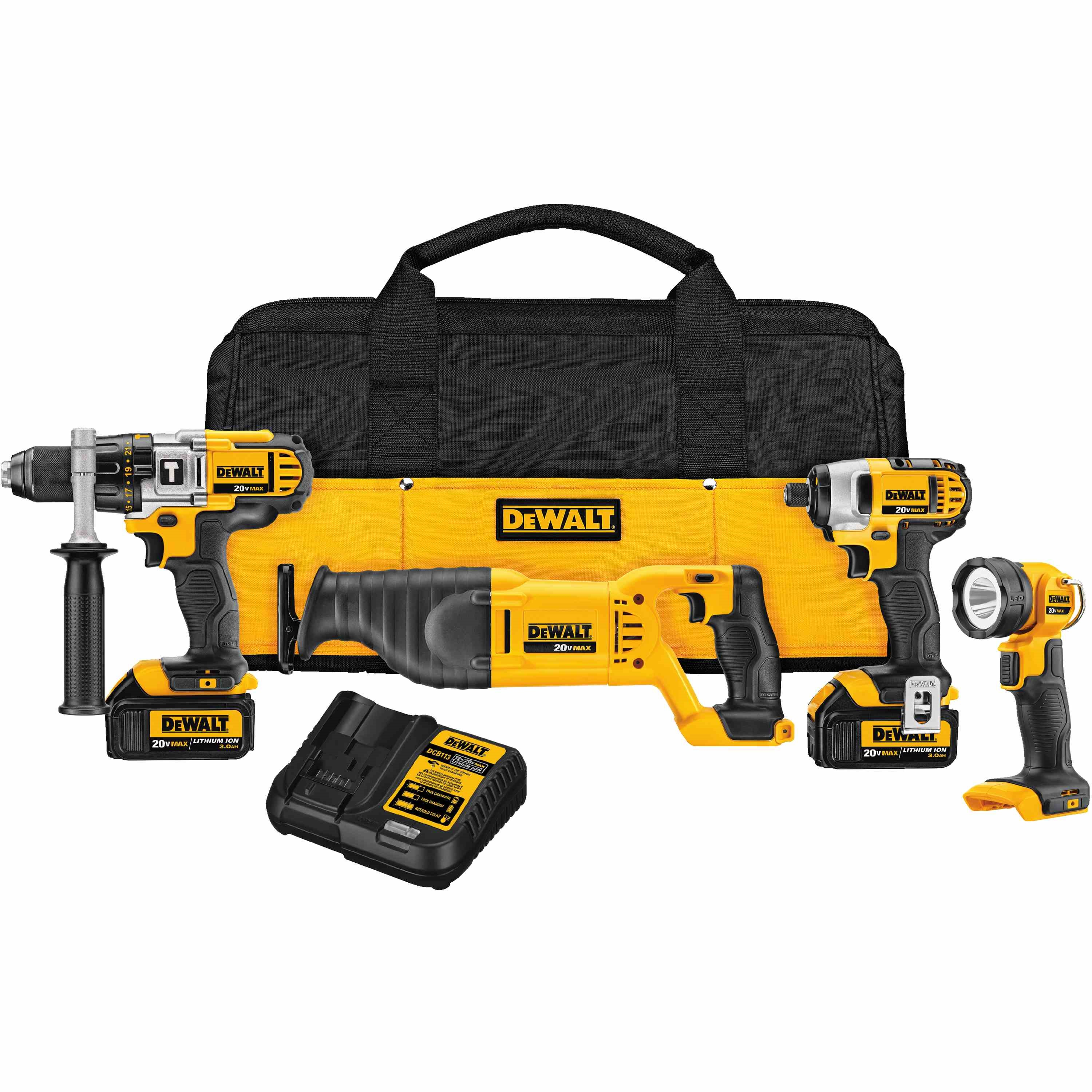 DWLT DCK490L2 20V MAX LI-ION 4-TOOL COMBO KIT (HD, REC, IMP, LIGHT, 3.0 AH)