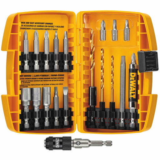 Dewalt DW2503 20 Piece Rapid Load Set Quick Change Accessory System & Compact Magnetic Drive Guide (Holds 1 Inch Bit Tips) Fits Drill Drivers & 7-In-1 Screwdriver Steel