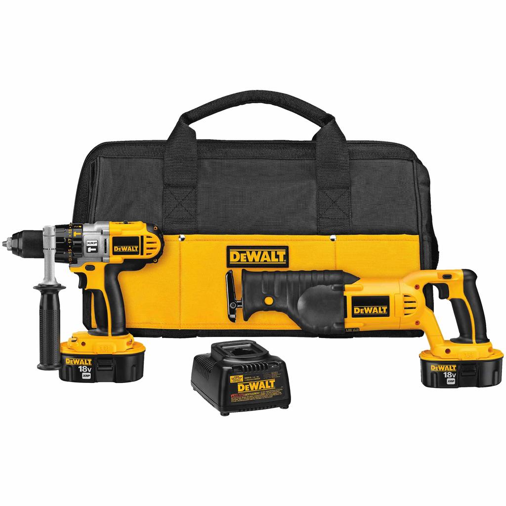 DEWALT DCK251X Dewalt 18 Volt 450 W XRP Battery Cordless Hammer Drill/Reciprocating Saw Combo Kit