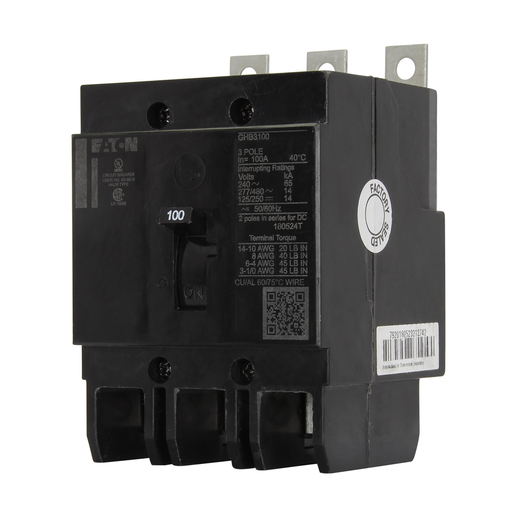 Eaton Electrical GHB3100 Series C G Frame Bolt-On Molded Case Circuit Breaker