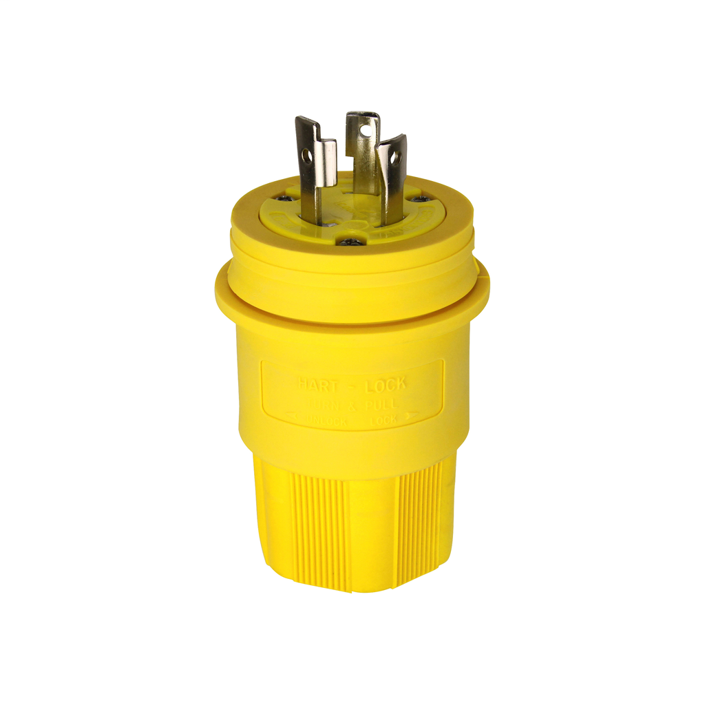 Arrow Hart Wiring L630PW 30 Amp 250 VAC 2-Pole 3-Wire NEMA L6-30 Yellow Watertight Locking Plug