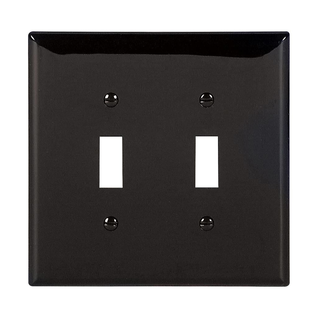 Eaton Wiring Devices PJ2BK 2-Gang Black Polycarbonate Medium Toggle Switch Wallplate