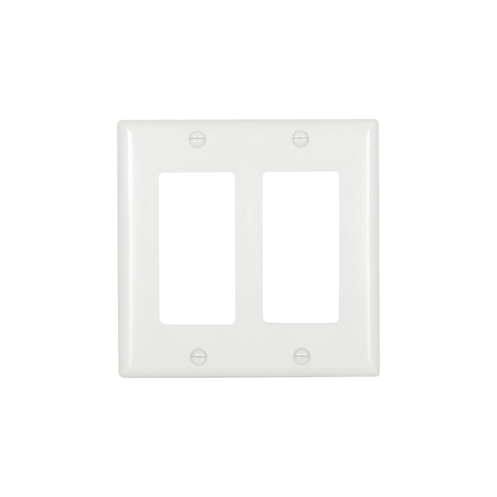 Cooper Wiring Devices,2152W-BOX,WALLPLATE 2G DECORATOR THERMOSET STD WH