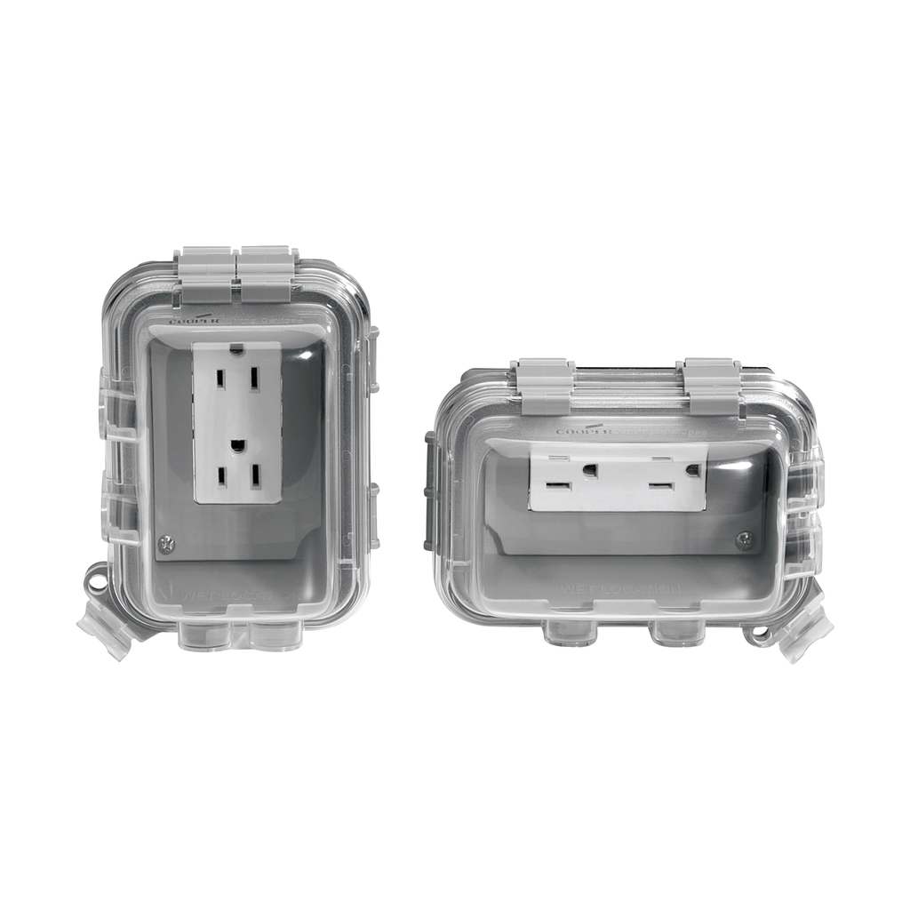 Crouse-Hinds Series TP7489 3.25 Inch Gray Polycarbonate 2-Gang Self-Closing Outlet Box Cover