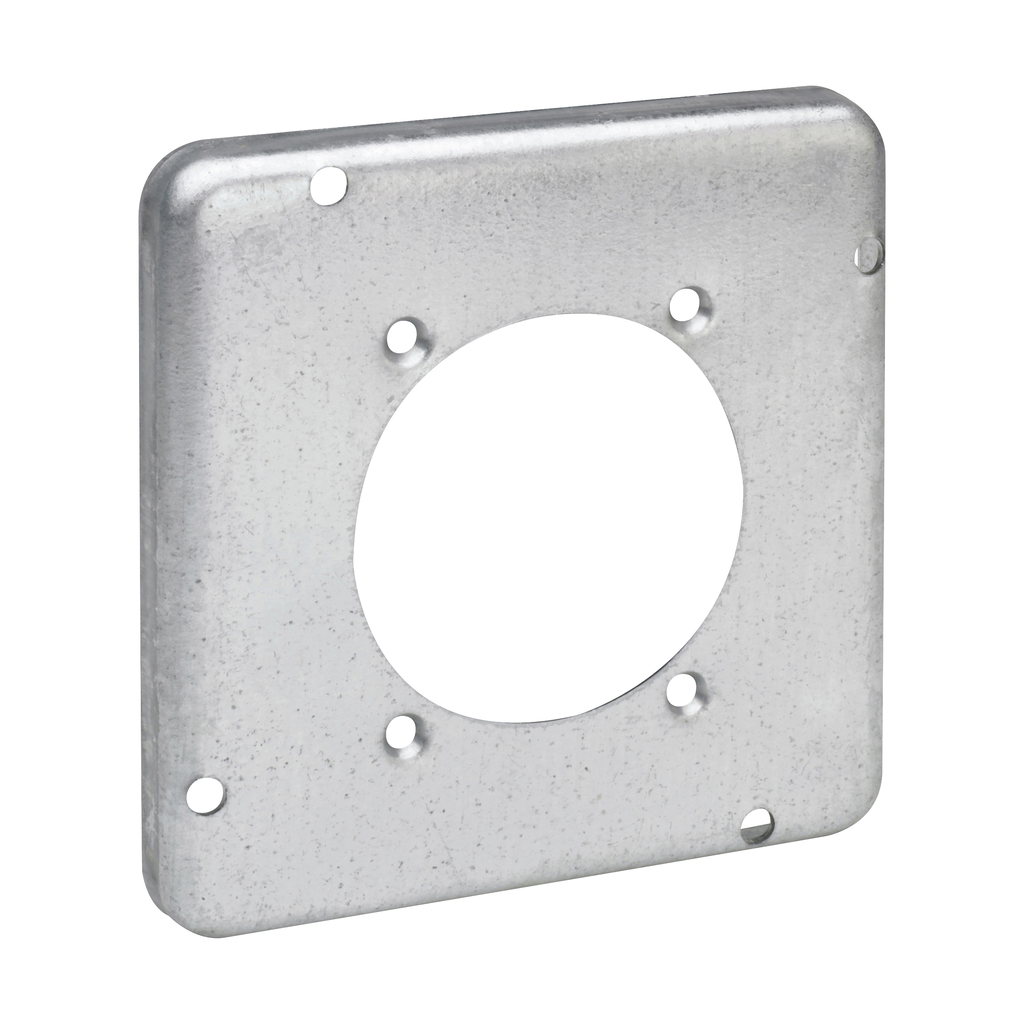 "Crouse-Hinds TP734 4-11/16"" Square Surface Cover, 2-1/2"" Diameter Power Outlet Hole"
