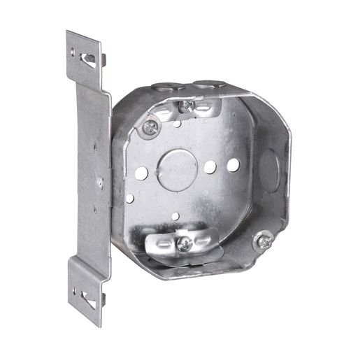 Crouse TP304 4 Inch Octagon 1-1/2 Deep Outlet Box w/ S Bracket, (4) Nonmetallic Cable Clamps, (2) 1/2 Inch Knockouts (1-Side/ 1-Bottom) 50 Pound Fixture Rated (Thepitt)