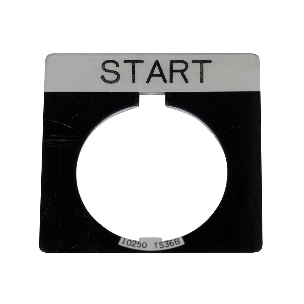Eaton Electrical 10250TS33 1.75 x 1.75 Inch Black/White Start Square Standard Legend Plate