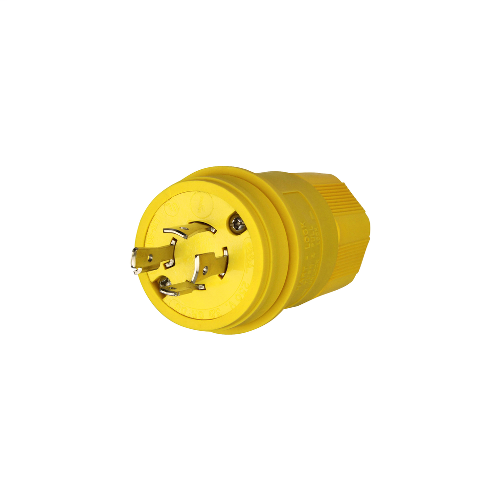 Arrow Hart Wiring L1520PW 20 Amp 250 VAC 3-Phase 3-Pole 4-Wire NEMA L15-20 Yellow Watertight Locking Plug