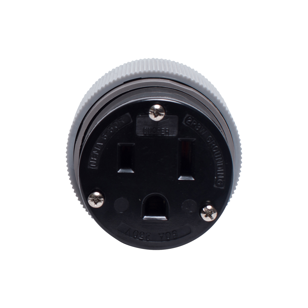 Eaton Wiring Devices 6709N 50 Amp 250 VAC 2-Pole 3-Wire NEMA 6-50R Gray Straight Blade Connector