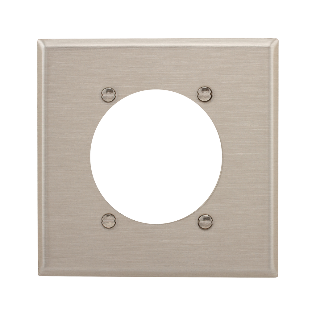 Eaton Wiring Devices 93223 2-Gang 302/304 Stainless Steel Standard Size Power Outlet Wallplate