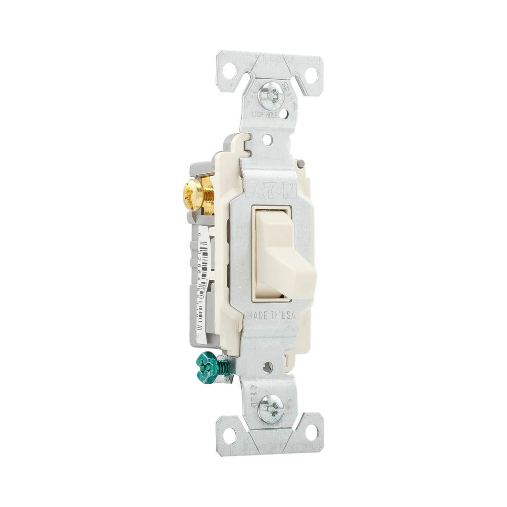 Eaton Wiring Devices CS320LA 20 Amp 120/277 VAC 3-Way Light Almond Compact Toggle Switch