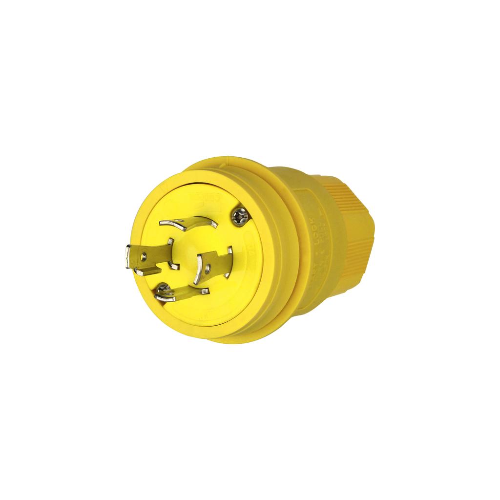 Arrow Hart Wiring L1530PW 30 Amp 250 VAC 3-Phase 3-Pole 4-Wire NEMA L15-30 Yellow Watertight Locking Plug
