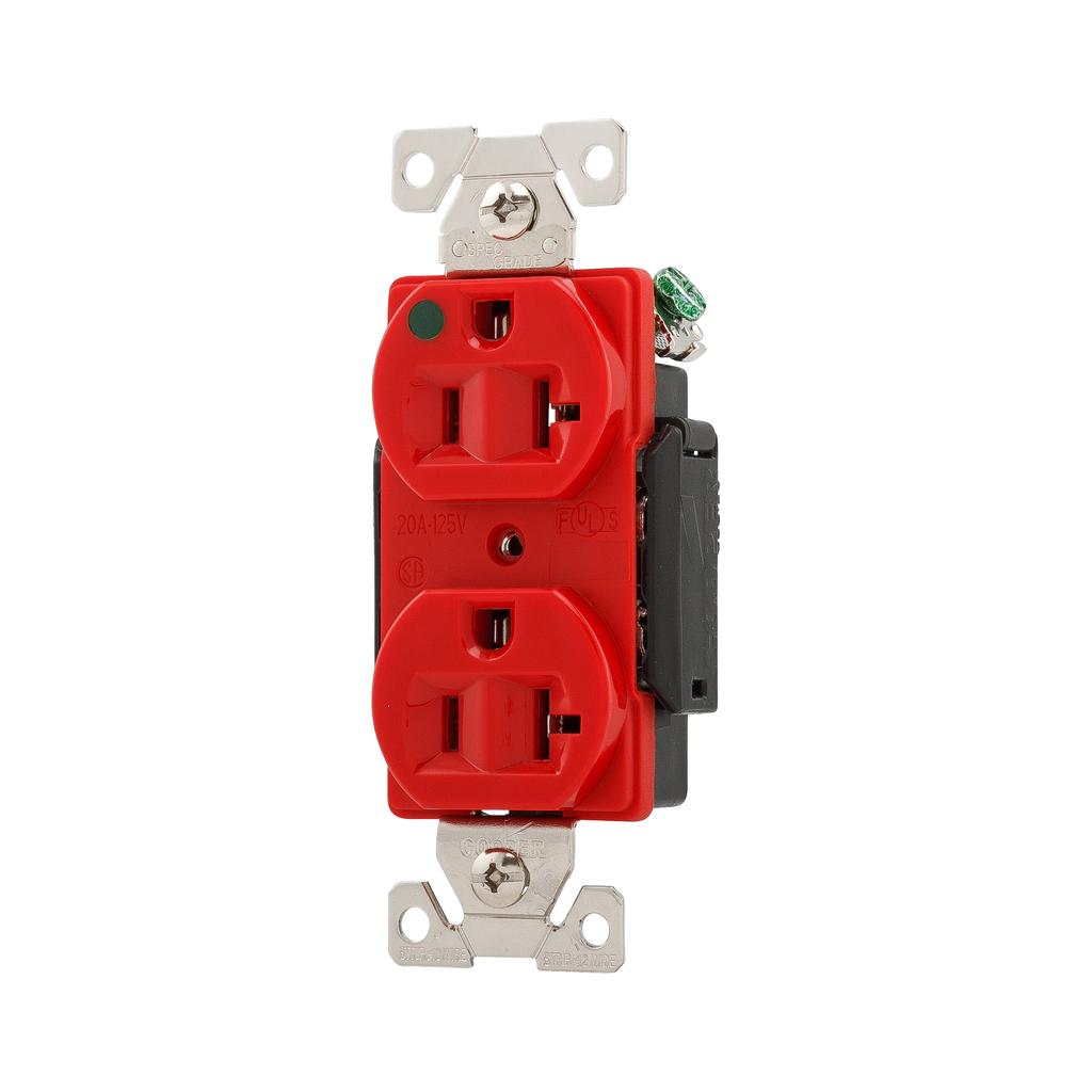 Arrow Hart Wiring AH8300RD 20 Amp 125 VAC 2-Pole 3-Wire NEMA 5-20R Red Straight Blade Duplex Receptacle