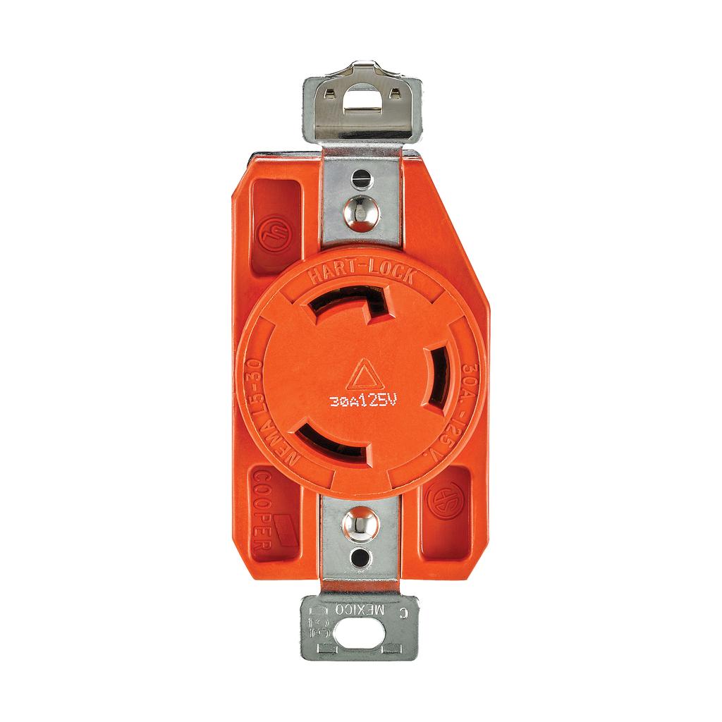 Eaton Wiring Devices IGL530R 30 Amp 125 VAC 2-Pole 3-Wire NEMA L5-30 Orange Isolated Ground Locking Single Receptacle