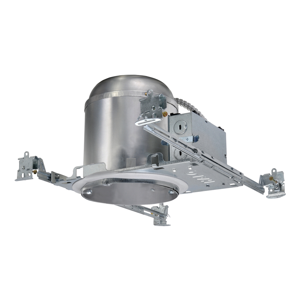 Halo AIR-TITE® H750ICAT New Construction Round Recessed Downlight Housing, LED Lamp, IC Insulation, 120/277 VAC, 6-1/2 in Ceiling Opening, Aluminum Housing