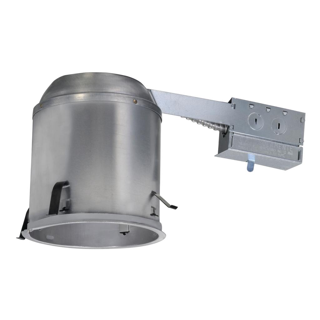 Halo H7RICAT Line Voltage Remodel Recessed Lighting Housing, A19/BR30/R30/PAR30L/PAR38 Lamp, IC Insulation, 120 VAC, 6-1/2 in Ceiling Opening, Aluminum Housing