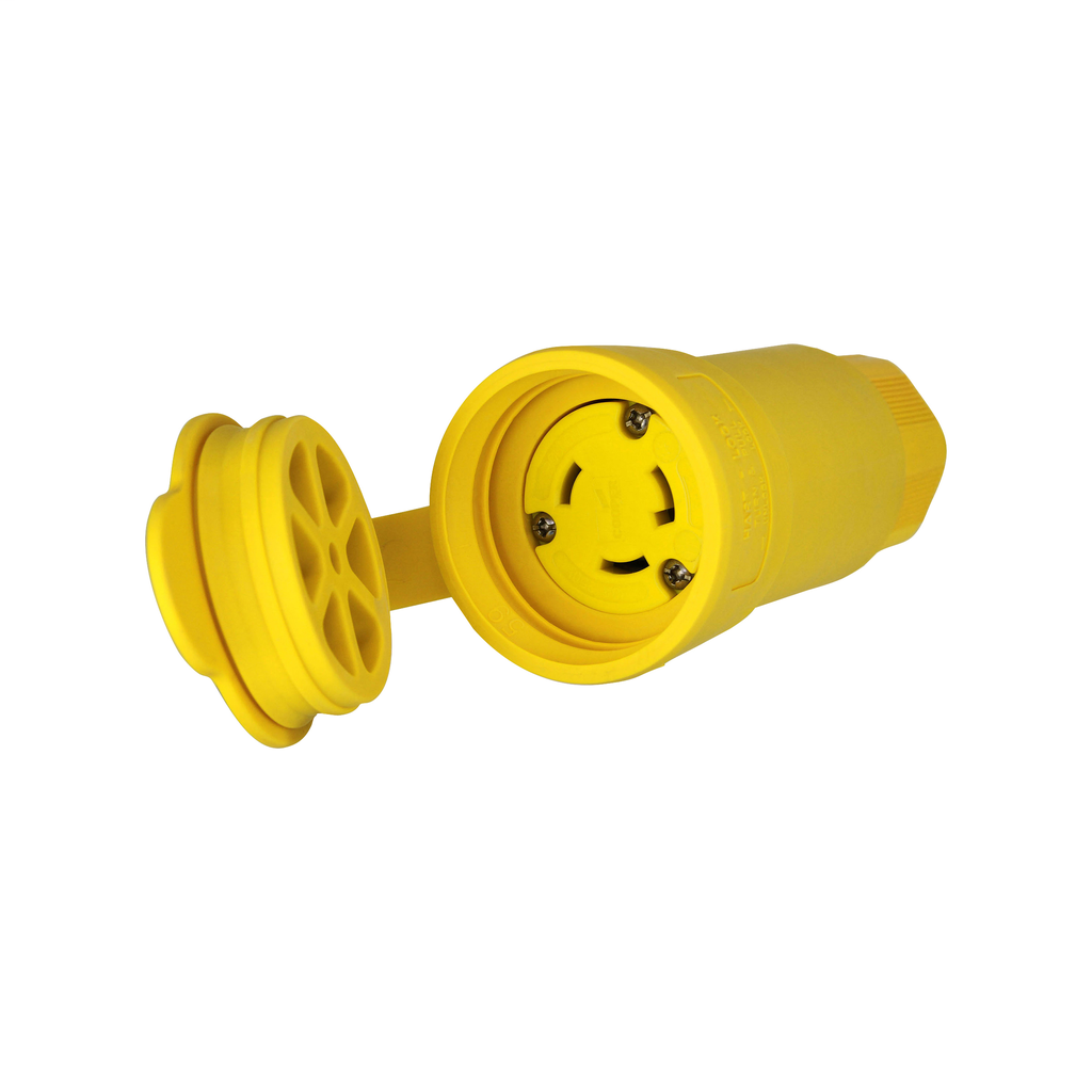 Arrow Hart Wiring L630CW 30 Amp 250 VAC 2-Pole 3-Wire NEMA L6-30R Yellow Watertight Locking Connector