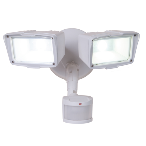 All-Pro MST18920LW White LED Twin Head 31 Watt 120V Floodlight w/ 180 Degree Motion Sensor, 5000K, 2200 Lumens, 73 CRI, 70000 Hour (Resi/ Light Comm) Wet Location, Dual Head Security Flood Lighting Fixtures