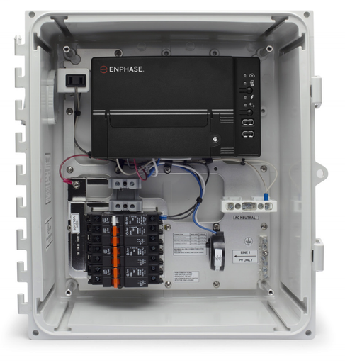 The Enphase IQ Combiner™ with Enphase IQ Envoy™consolidates interconnection equipment into a single enclosure and streamlines PV installations by providing a consistent, pre-wired solution for residential applications.