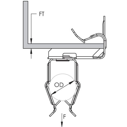 CAD 8P24 CONDUIT CLIP,1/2 FLANGE 1/8-1/4