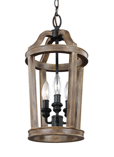 MURF F3029/3WOW 3 LIGHT MINI-PENDANT WEATHERED OAK WOOD/DARK WEATHERED ZINC