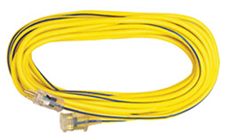 Voltec 05-00366 100 Foot 12/3 SJTW 15 Amp Extension Cord w/ Lighted Ends, 5-15P/ 5-1/5R, Yellow w/ Blue Stripe, 300V, 12 Awg 3-Conductor Portable Cords, UL Listed