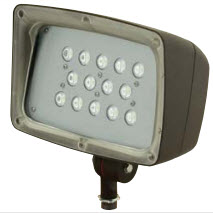 Hubbell FML-14-PC1 Bronze 53 Watt LED Compact Flood Light Fixture w/ Photocontrol, 120V, 5100K, 4285 Lumens, 67 CRI, 60000 Hour, Acyrlic Lens, 1/2 Inch x 14 NPS Threaded Adjustable Knuckle Mount, Wide Beam (Replaces 150W MH/HPS Or 2x42W CFL) Security/Facade/Area/Sign Lighting **REPLACED BY FML-14-PCU**