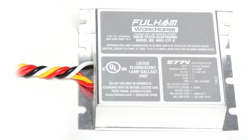 Fulham Company WH3-277-C 64 W .24 Amp 277 Volt Ballast