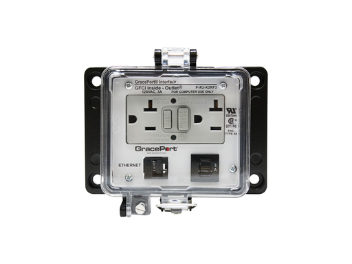 Panel Interface Connector with Category 5e RJ45 - Panel Mount Housing - UL Type 4X - GFCI Duplex Inside-Outlet - 3 Amp Circuit Breaker