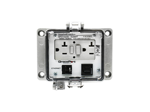 Panel Interface Connector with Category 5e RJ45 - Panel Mount Housing - UL Type 4 - GFCI Duplex Inside-Outlet - 5 Amp Circuit Breaker