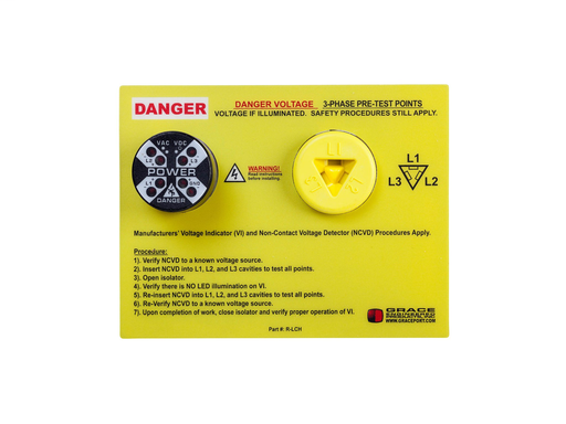 Non-Flashing Voltage Indicator and 3-Phase Non-Contact Voltage Portal Combination Unit with Horizontal Warning Label