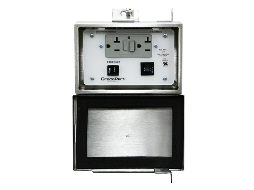 """Panel Interface Connector with Category 5e RJ45 - Panel Mount Housing - 304 Stainless Steel (Available in """"M"""" size housing only) - GFCI Duplex Inside-Outlet - 3 Amp Circuit Breaker"""