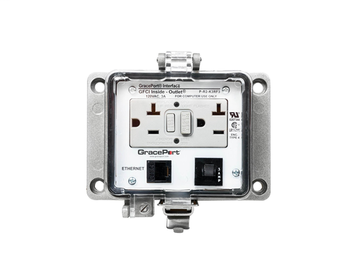 Panel Interface Connector with Category 5e RJ45 - Panel Mount Housing - UL Type 4 - GFCI Duplex Inside-Outlet - 3 Amp Circuit Breaker