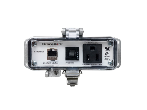 Panel Interface Connector with Category 5e Shielded Ethernet - Panel Mount Housing - UL Type 4 - Simplex Outlet - 3 Amp Circuit Breaker