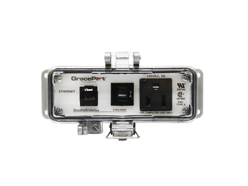 Panel Interface Connector with Category 5e RJ45 - Panel Mount Housing - UL Type 4 - Simplex Outlet - 3 Amp Circuit Breaker