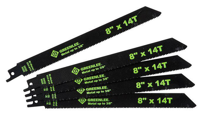 Greenlee 353-814 8 x 3/4 x 0.05 Inch Bi-Metal Straight Back Reciprocating Saw Blade