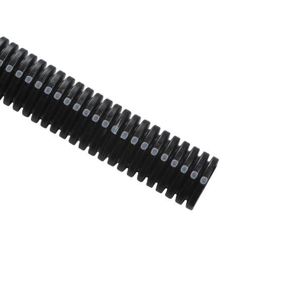 "TYT Convoluted Tubing, Slit, .25"" Dia, PA6, Black with Gray Stripe, 3200 ft/carton"