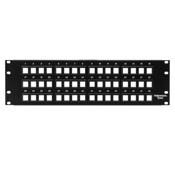 Mayer-Modular Patch Panel 48 Port, 3U, Steel, Black, 1/box-1