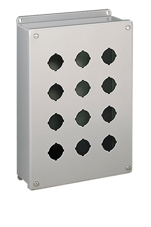 Punched specifically to house either 30.5-mm or 22.5-mm oil-tight pushbuttons, switches and pilot lights. Enclosures provide protection against dirt, dust, oil and water. See Mild Steel chapter for related mild steel enclosures.