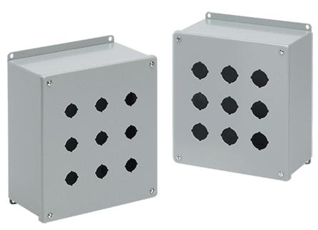 Hoffman E2PBX 6 x 4 x 4.75 Inch Gray 14 Gauge Steel NEMA 12 Push Button Enclosure