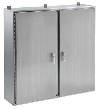 Hoffman A24H4808WFSSLP3PT 24 x 48 x 8 Inch 14 Gauge 304 Stainless Steel NEMA 4X 2-Door Wall Mount Enclosure