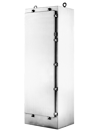 Hoffman A72H3724SS6FS 72.06 x 37.06 x 24.06 Inch 12 Gauge 316L Stainless Steel NEMA 4X Free Stand Floor Mount Enclosure