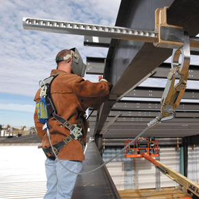 Stainless Steel and Aluminum; Connects horizontally to I and H beam flanges; Fits flange sizes 4-inches to 12-inches; Slides along the beam with the worker to provide increased safety, mobility and productivity. 8814-12/