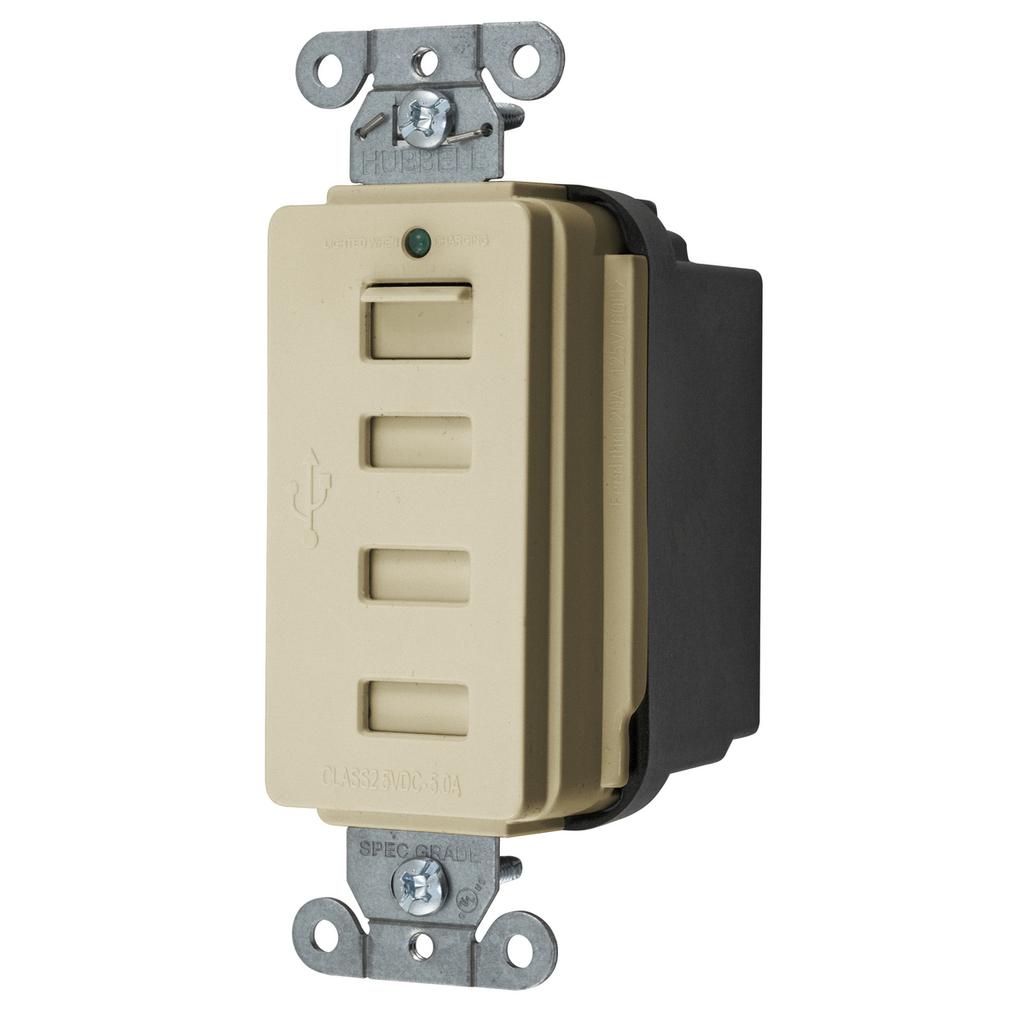 HUB USB4I USB CHRGR 4 PORT 5AMP 5 VOLT, IVORY