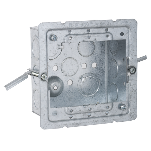Raco 232-OW 4 Inch Square Box (OW) 2-1/8 Deep w/ 1/2 & 3/4 Knockouts & Old Work Brackets Steel