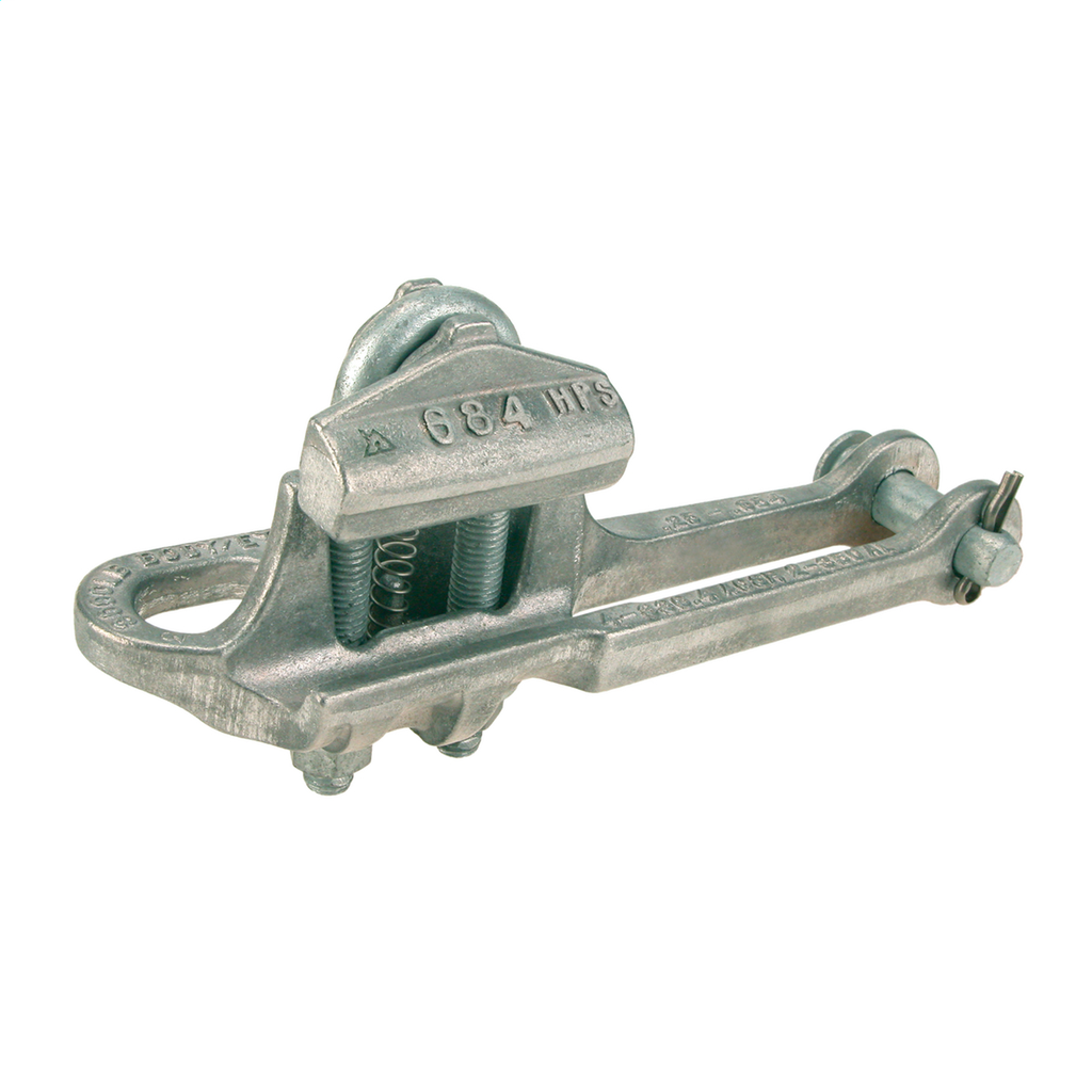 HUBBELL POWER SYSTEMS Deadend, Straight line, Spring Loaded, Side opening, AAC, AAAC, ACAR, ACSR, Conductor Range 0.19 - 0.57 in, Fitting: None, Hex Pin , tin Plated.